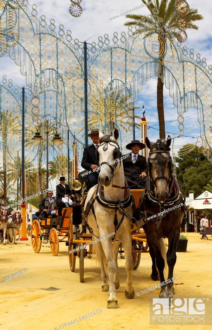 Stock Photo: Decorated horses and dressed up coachmen at the Feria del Caballo Horse Fair, Jerez de la Frontera, Cádiz province, Andalusia, Spain.