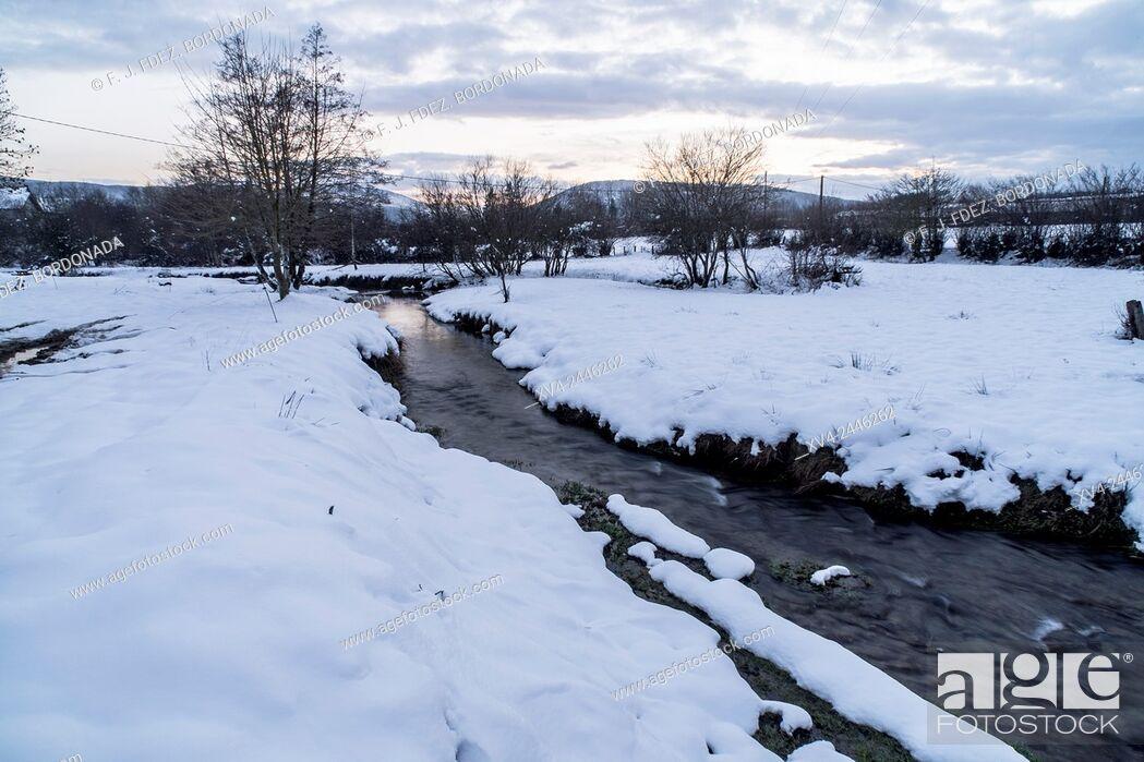 Stock Photo: Burguete riverside area in Winter. Navarre, Spain.