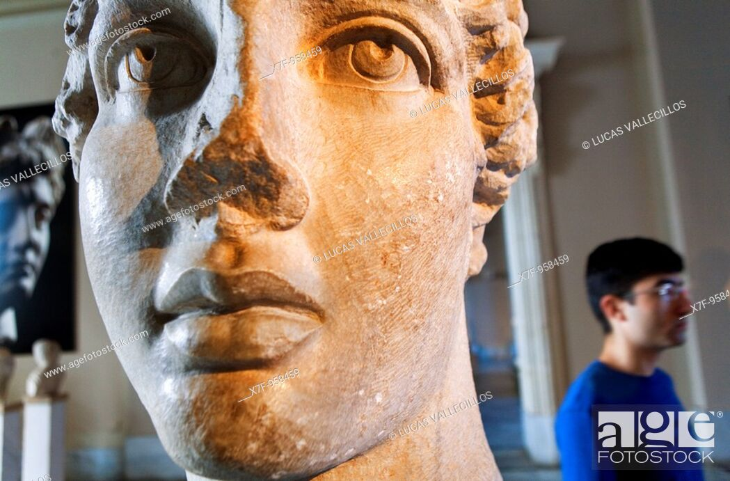 Stock Photo: Archaeological museum  Head of the poetess sappho roman  Sculpture gallery of periods Roman and hellenic  Istanbul, Turkey.