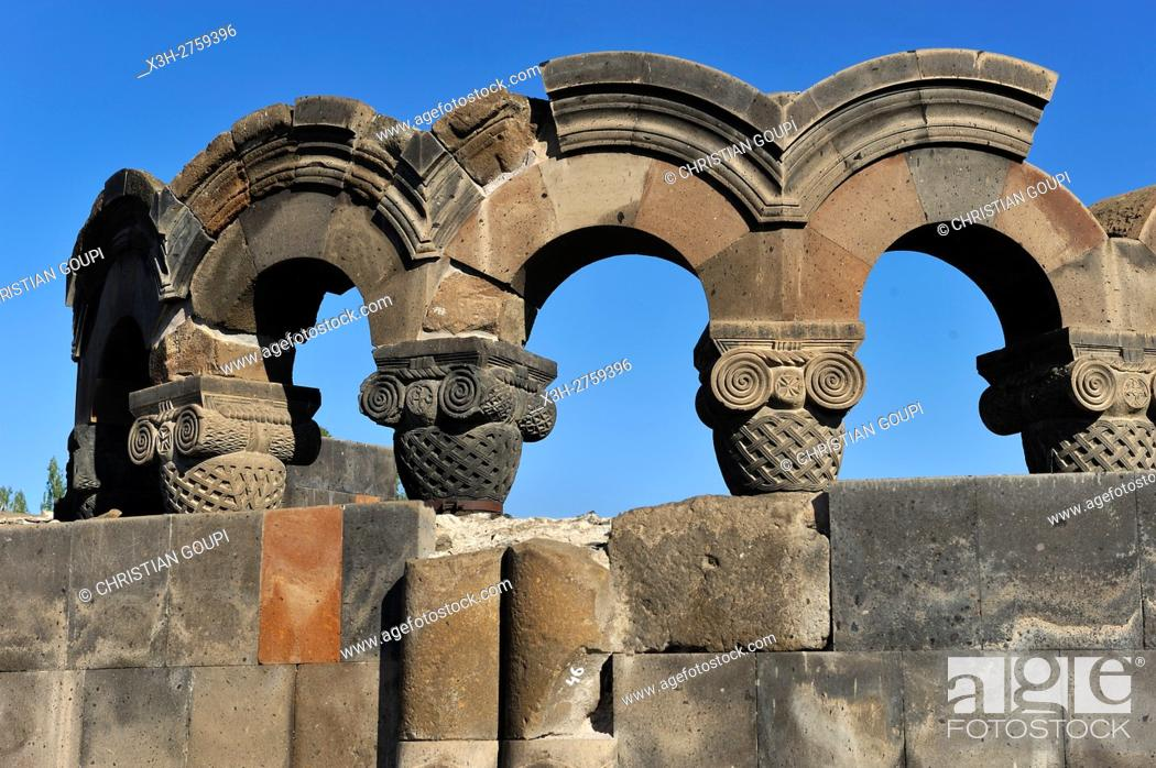 Stock Photo: rebuilt sections of the ruins of Zvarnots Cathedral, located near the city of Vagharshapat (commonly known as Ejmiatsin), UNESCO World Heritage Site.