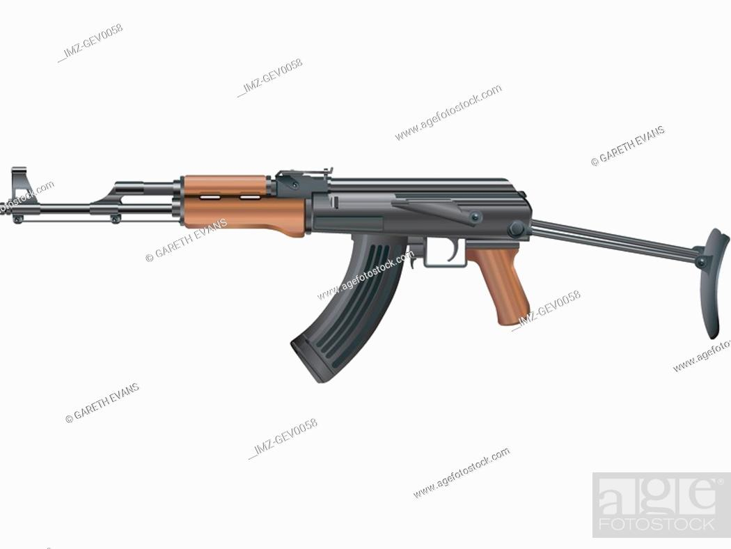 Stock Photo: An illustration of an ak-47 collapsible stock.