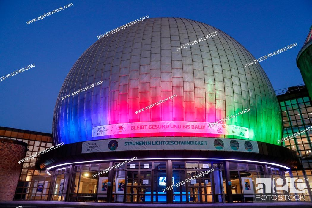Stock Photo: 27 February 2021, Berlin: The Zeiss Grand Planetarium at the Blue Hour. Photo: Gerald Matzka/dpa-Zentralbild/ZB. - Berlin/Berlin/Germany.