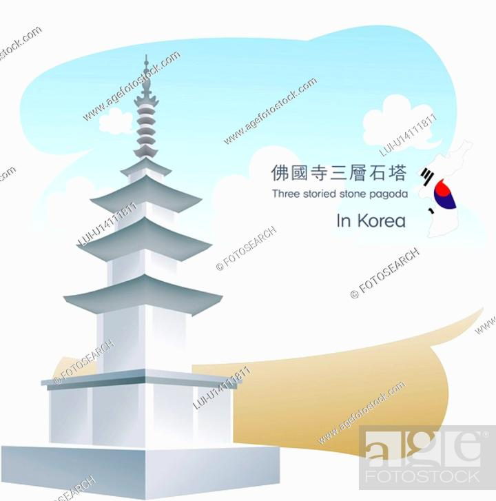 Stock Photo: south Korea, tourism, sightseeing, national flag, map, kyongju, travel.