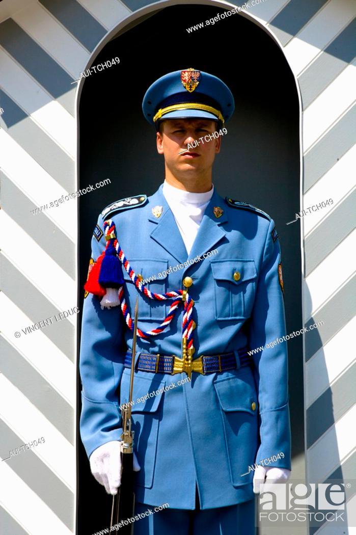 Stock Photo: Czech Republic - Prague - Hradcany Prague 1 District - The Royal Palace - The royal guard.