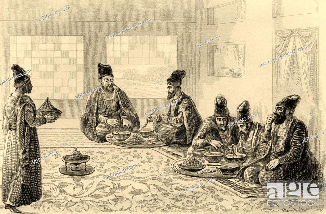 Stock Photo: Traditional Persian lunch. Iran. Old steel engraved antique print. Published in L'Univers La Perse, in 1841. History of the ancient Persian empire.