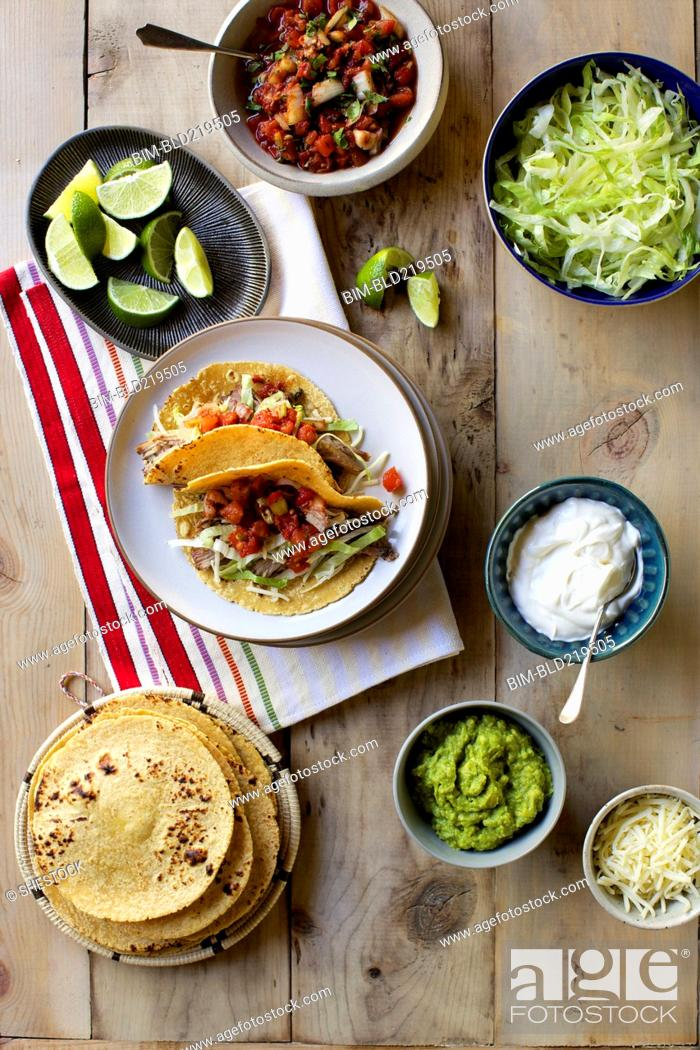 Stock Photo: High angle view of fresh taco ingredients.