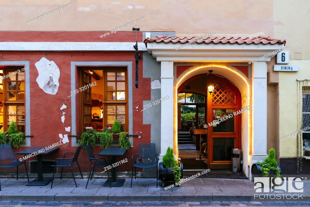 Stock Photo: Restaurant of traditional Lithuanian cuisine in the old town. Vilnius, Vilnius County, Lithuania, Baltic states, Europe.