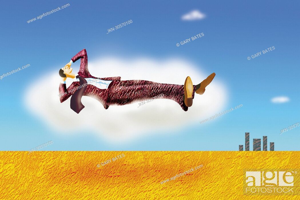 Imagen: Relaxed businessman floating in the sky.