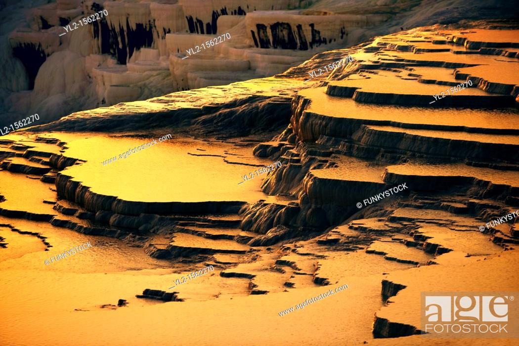 Stock Photo: Photo & Image of Pamukkale Travetine Terrace, Turkey, at sunset  Images of the white Calcium carbonate rock formations  Buy as stock photos or as photo art.