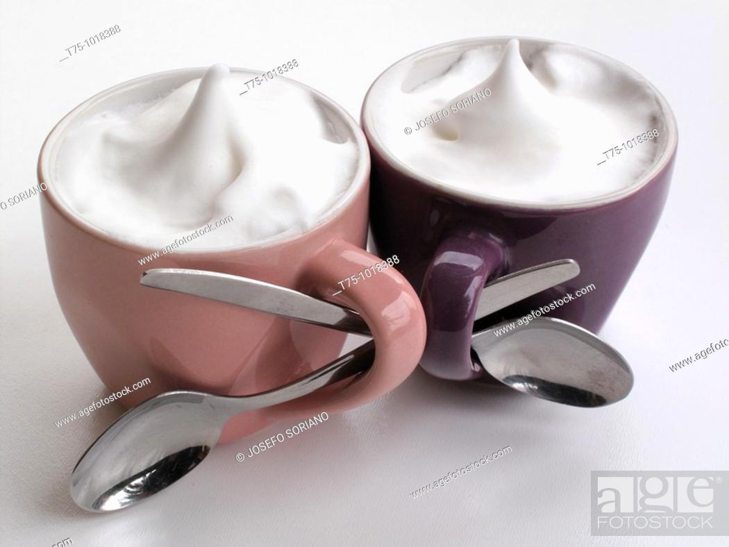 Stock Photo: Cappuccinos intertwined.