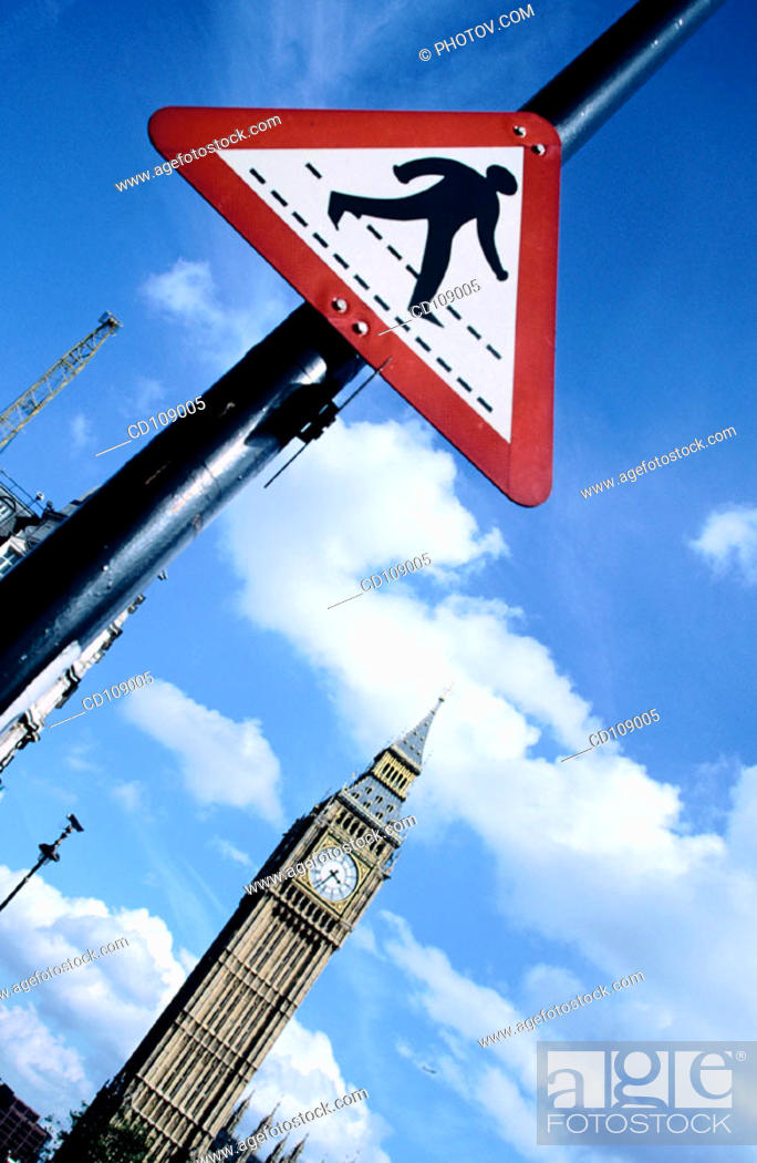 Stock Photo: Big Ben and crossing sign. London. England.