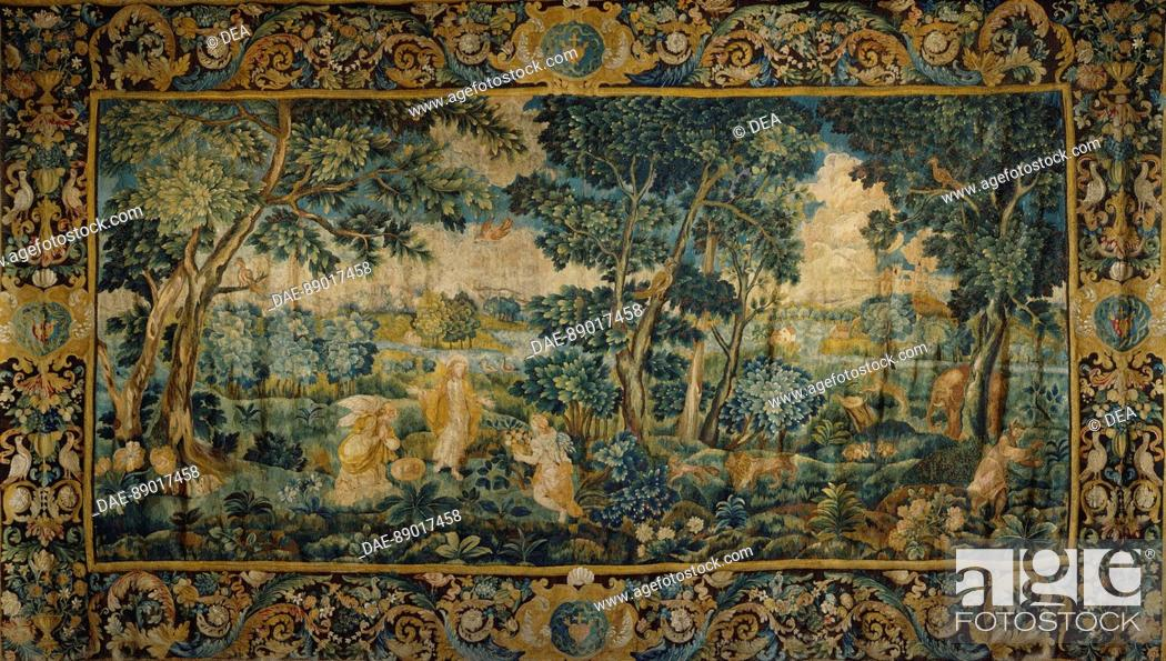 Stock Photo: The Temptation of Jesus in the Desert, 17th century tapestry  Blois, Castello Musee Des Beaux-Arts.