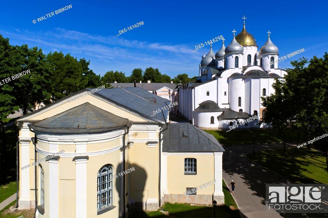 Stock Photo: Russia, Novgorod Oblast, Veliky Novgorod, Novgorod Kremlin, Saint Sofia Cathedral, elevated view.
