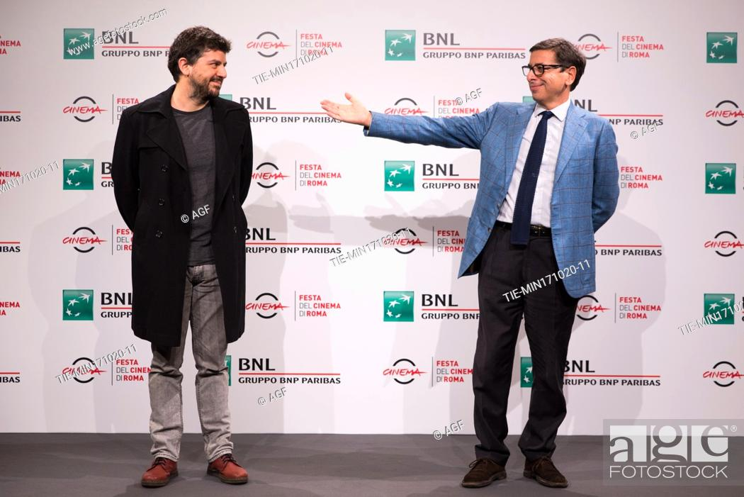 "Stock Photo: Rodrigo Fiallega, Antonio Monda attends the photocall of the movie """"Richochet"""" during the 15th Rome Film Festival on October 17, 2020 in Rome, Italy."
