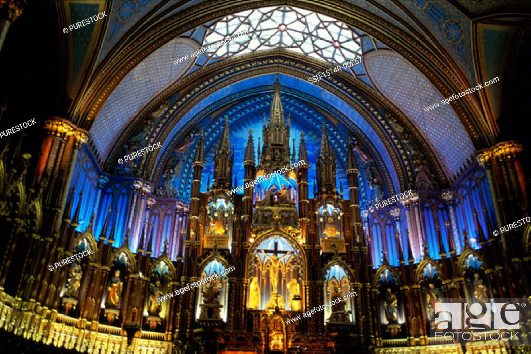 Stock Photo: Interior of the Notre Dame Cathedral, Montreal, Quebec, Canada.