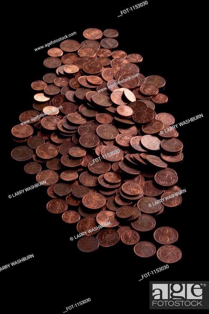 Stock Photo: A heap of copper Euro coins.
