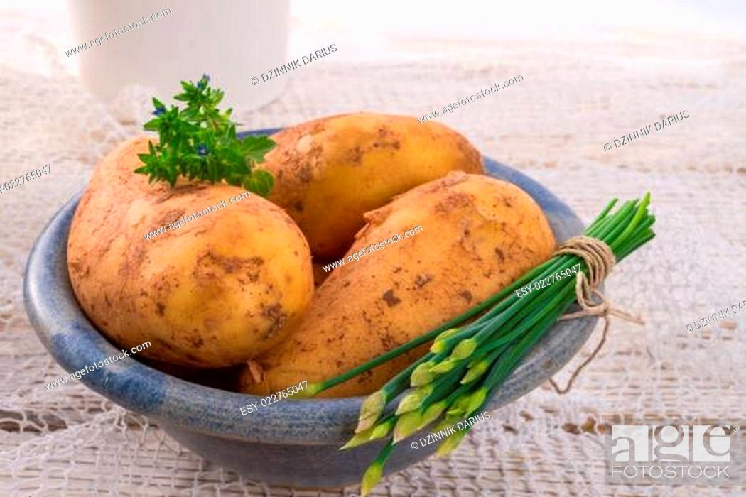 Stock Photo: New potatoes.