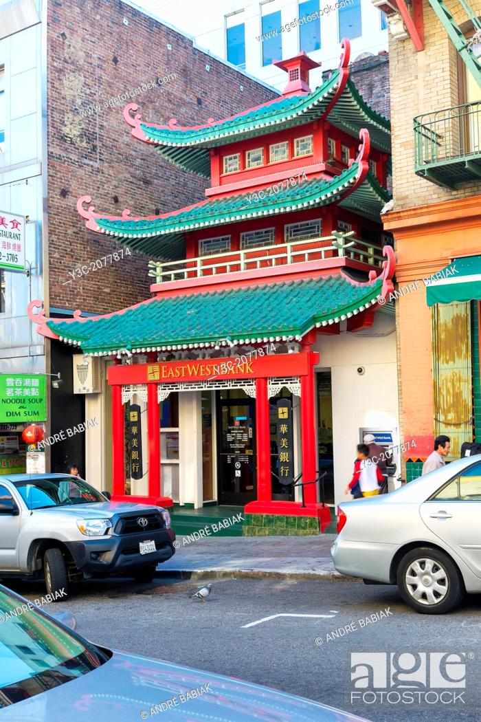 Stock Photo: Traditional Chinese building structure with bank inside. Located at China Town San Francisco, California.