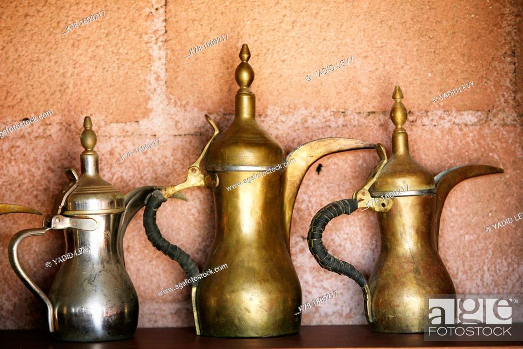 Stock Photo: coffee pots, Jordan.