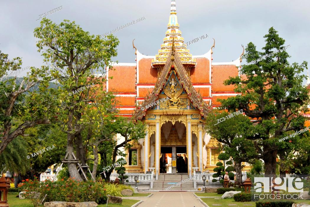 Stock Photo: Wat Chalong temple, the largest and most prominent of the 29 Buddhist temples on the island of Phuket, Province of Phuket, Thailand.