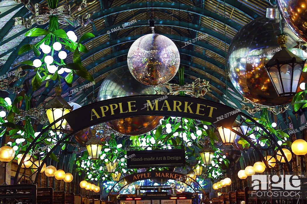 Stock Photo - Covent Garden Christmas decorations and lights shaped like mistletoe in London.