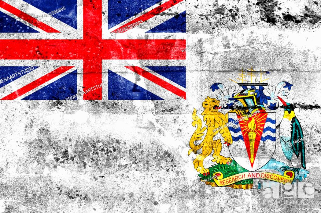 Stock Photo: Flag of the British Antarctic Territory, painted on dirty wall. Vintage and old look.