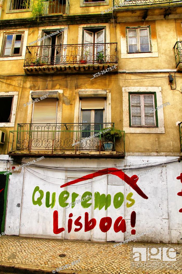Stock Photo: Sign in Alfama District, Lisbon, Portugal.