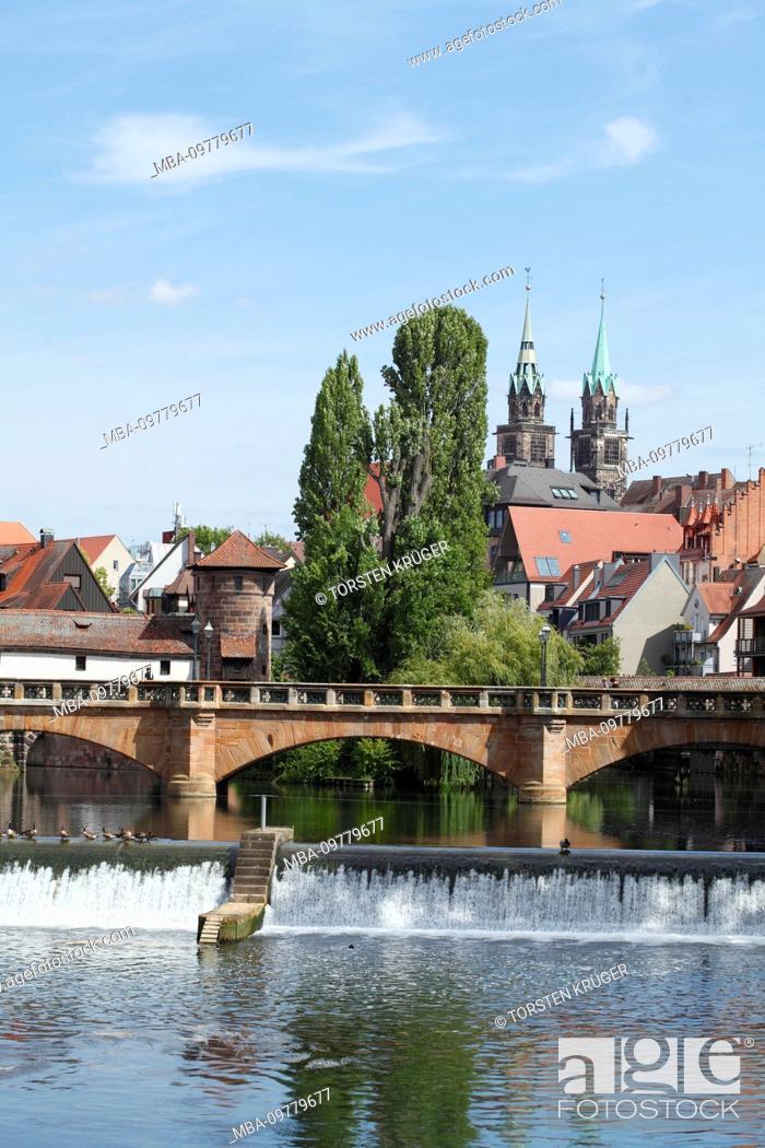 Stock Photo: Pegnitz, barrage, old town, Nuremberg, Bavaria, Germany, Europe.