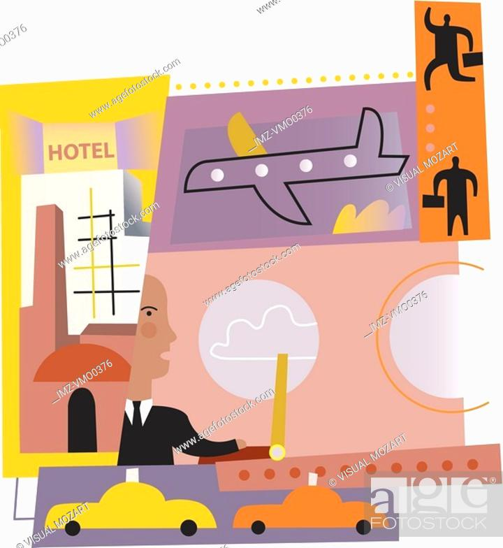 Stock Photo: A businessman traveling for business.