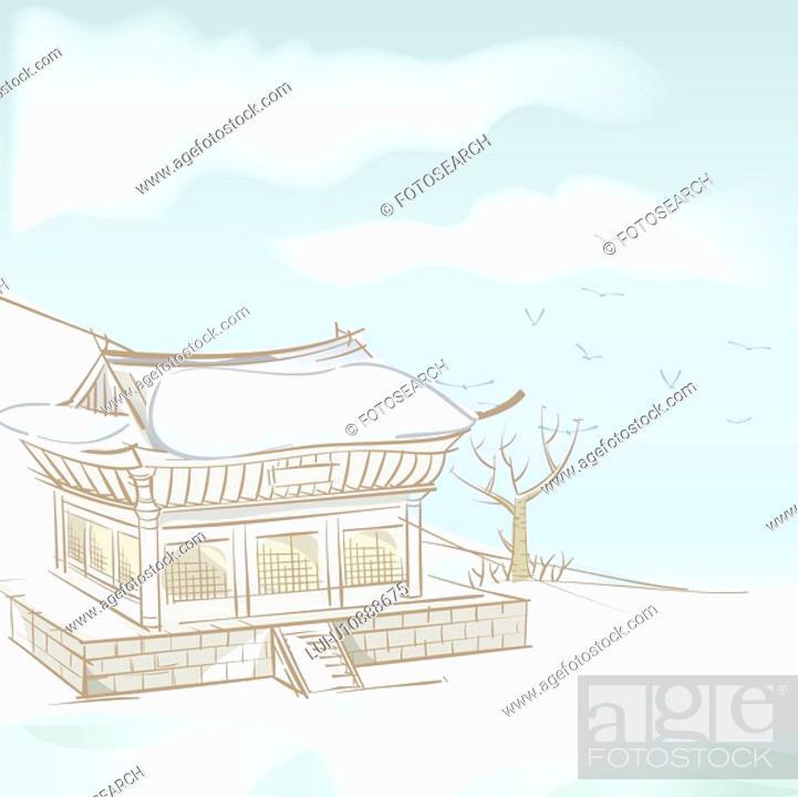 Stock Photo: hill, season, mountain, snow, winter, tree, background.