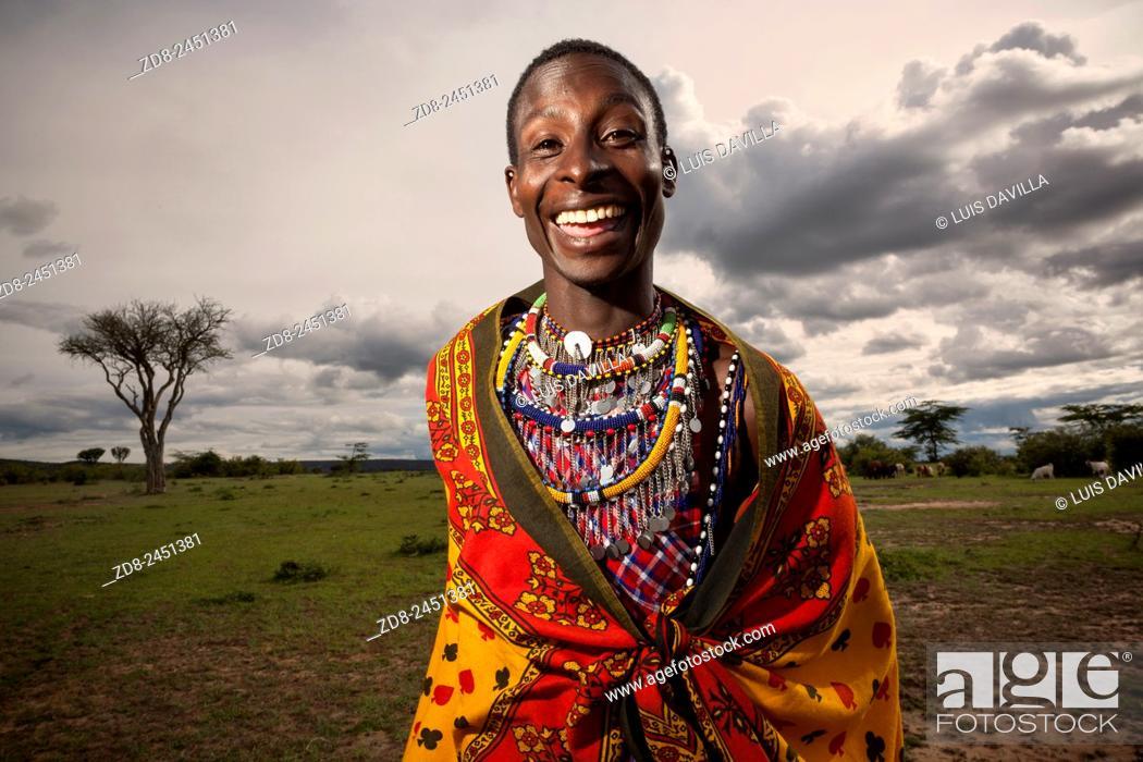Stock Photo: masai etnic people. masai mara national park. Kenya.