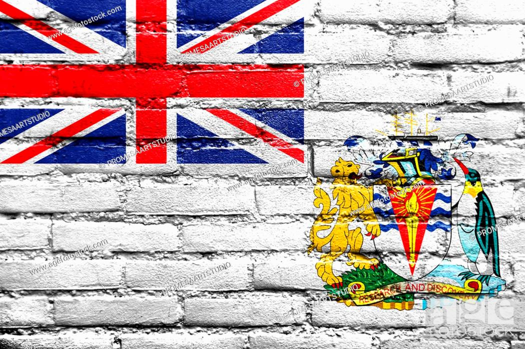 Stock Photo: Flag of the British Antarctic Territory, painted on brick wall.