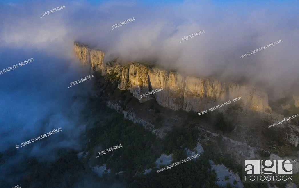 Stock Photo: Aerial View, Cliffs, Geological Landscape, Villasante de Montija, Merindad de Montija, Las Merindades, Burgos, Castilla y Leon, Spain, Europe.