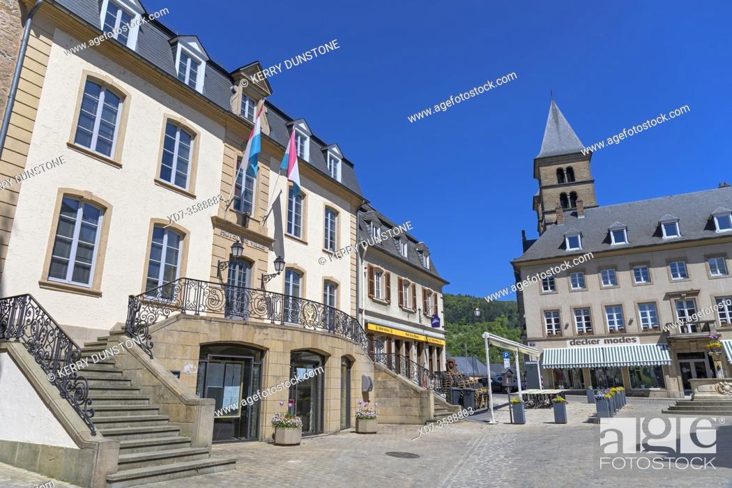 Stock Photo: Europe, Luxembourg, Echternach, Hotel de Ville (Town Hall) on Place du Marche.