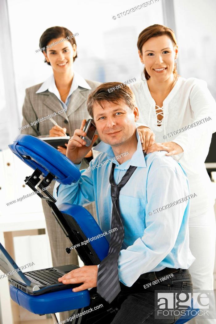 Stock Photo: Massage at work.