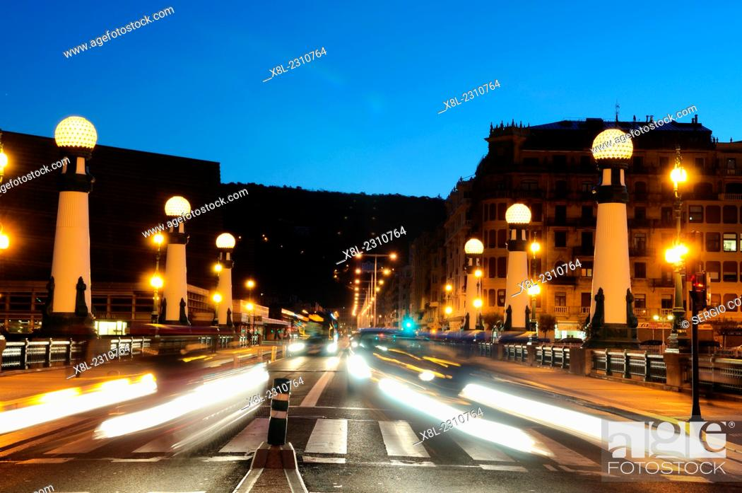 Stock Photo: Night traffic on the bridge of kursaal, san sebastian, Basque Country, guipuzcoa, Spain.