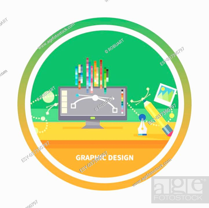 Concept For Graphic Design Designer Tools And Software In Flat Design With Computer Surrounded Stock Vector Vector And Low Budget Royalty Free Image Pic Esy 037390797 Agefotostock