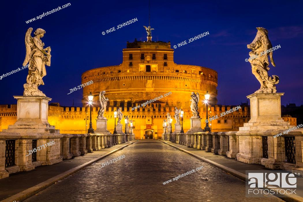 Stock Photo: The Mausoleum of Hadrian, usually known as the Castel Sant'Angelo, is a towering cylindrical building in Rome, central Italy.