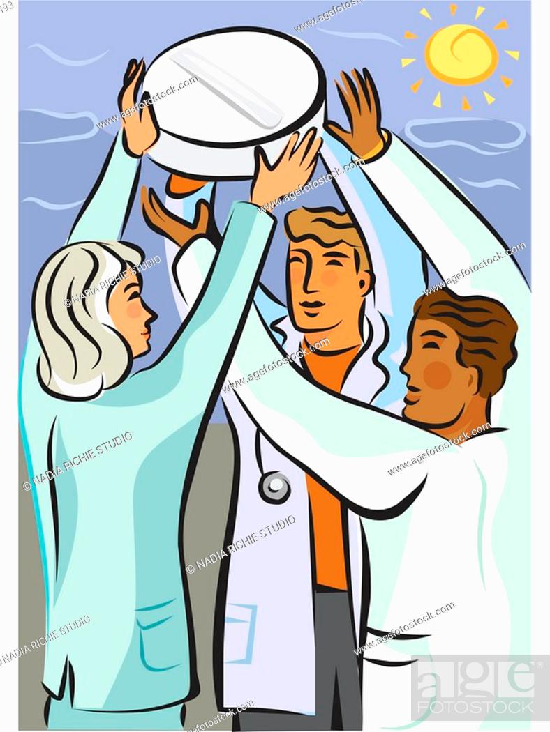 Stock Photo: Three doctors holding up a giant pill.