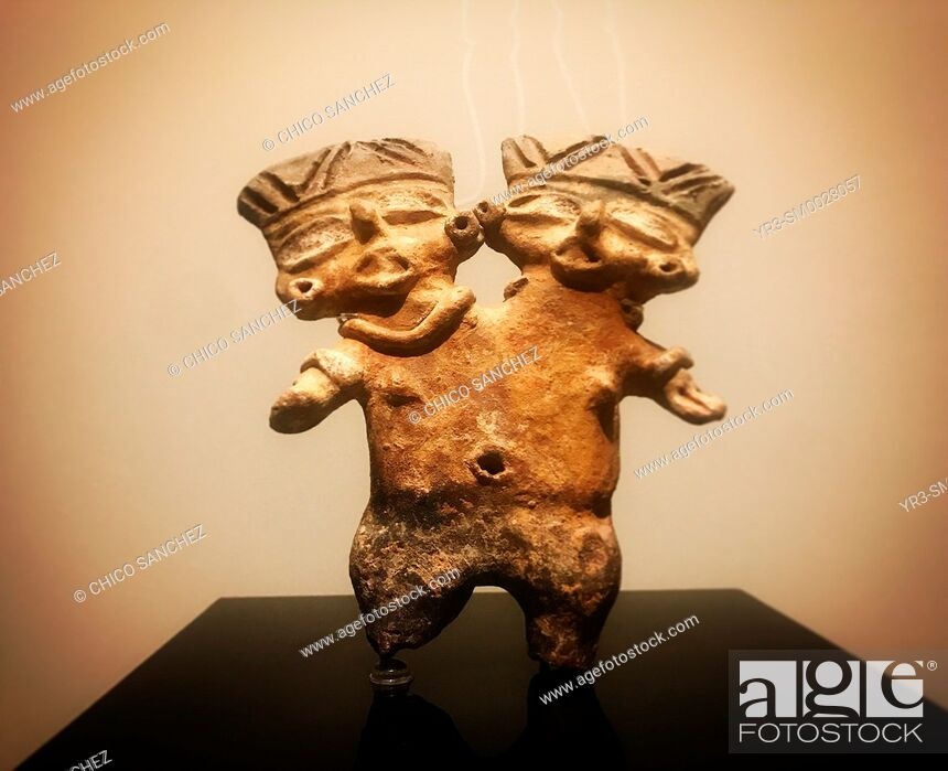 Stock Photo: A minuature of a bicephalous man is displayed in the Templo Mayor museum in Mexico City, Mexico.