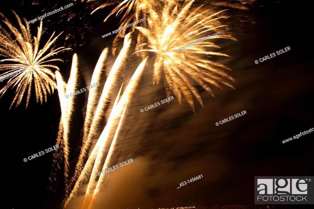 Stock Photo: Orange fireworks.