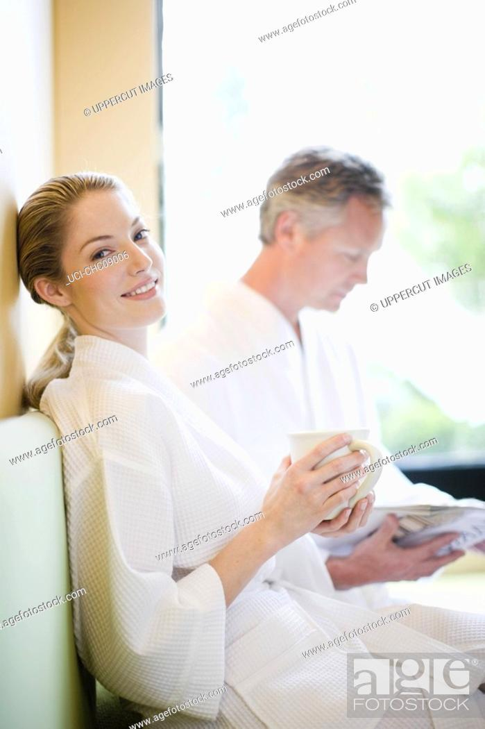 Stock Photo: Couple wearing bathrobes.