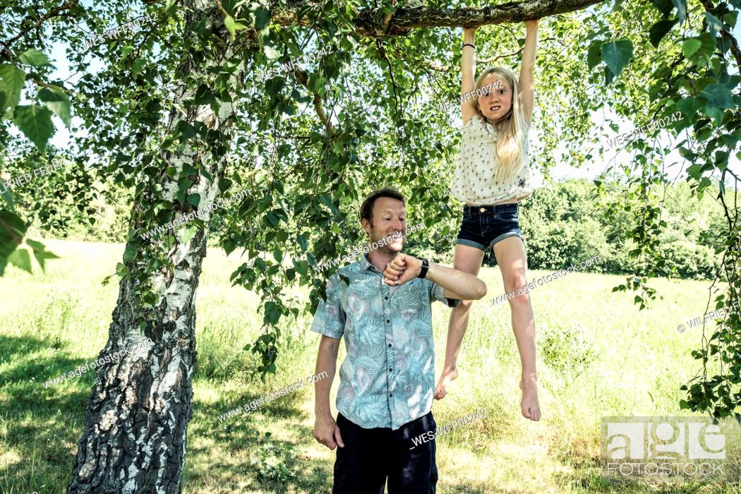 Stock Photo: Father checking the time with daughter hanging on a branch of a birch tree.
