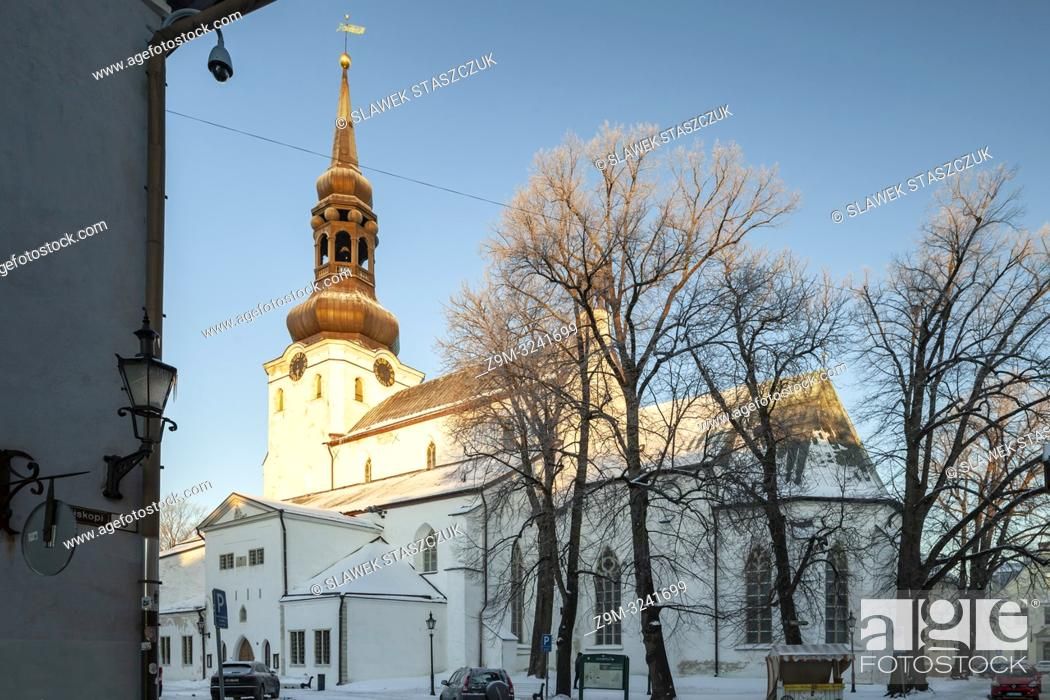 Stock Photo: Winter morning at St Mary's cathedral in Tallinn old town, Estonia.