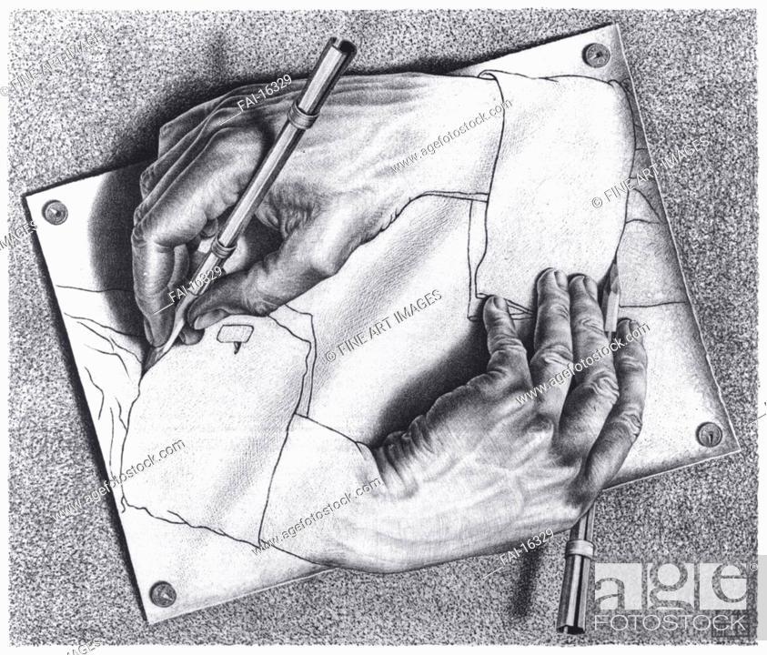Stock Photo: Drawing Hands. Escher, Maurits Cornelis (1898-1972). Lithograph. Modern. 1948. © Escher in het Paleis, Den Haag. 28,2×33,2. Graphic arts.