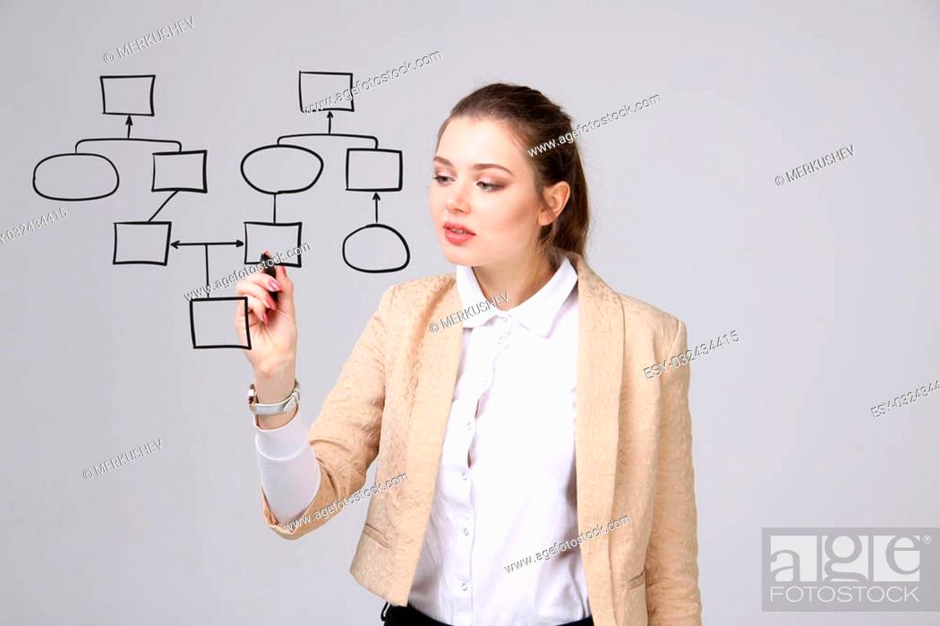 Photo de stock: Businesswoman drawing flowchart, business process concept on grey background.