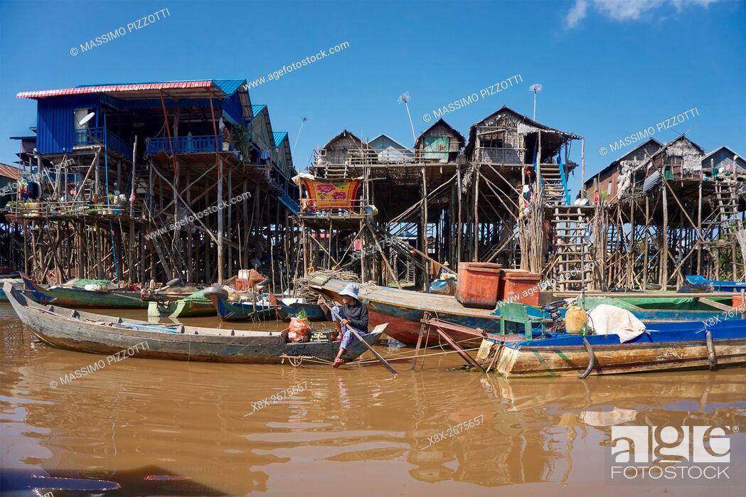 Stock Photo: Floating village of Kompong Phluk, Siem Reap, Cambodia.