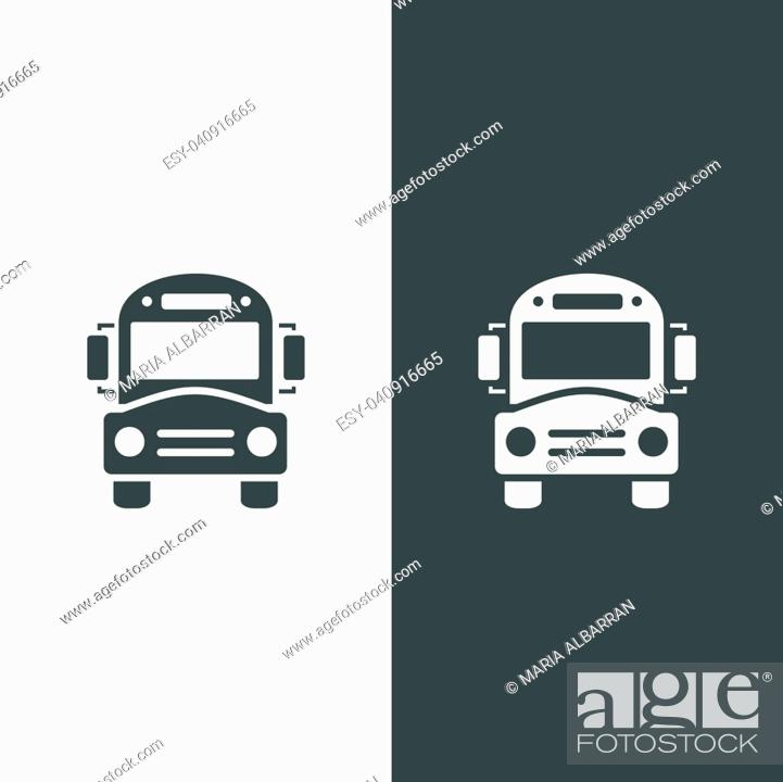 Stock Vector: Bus school icon on dark and white background.