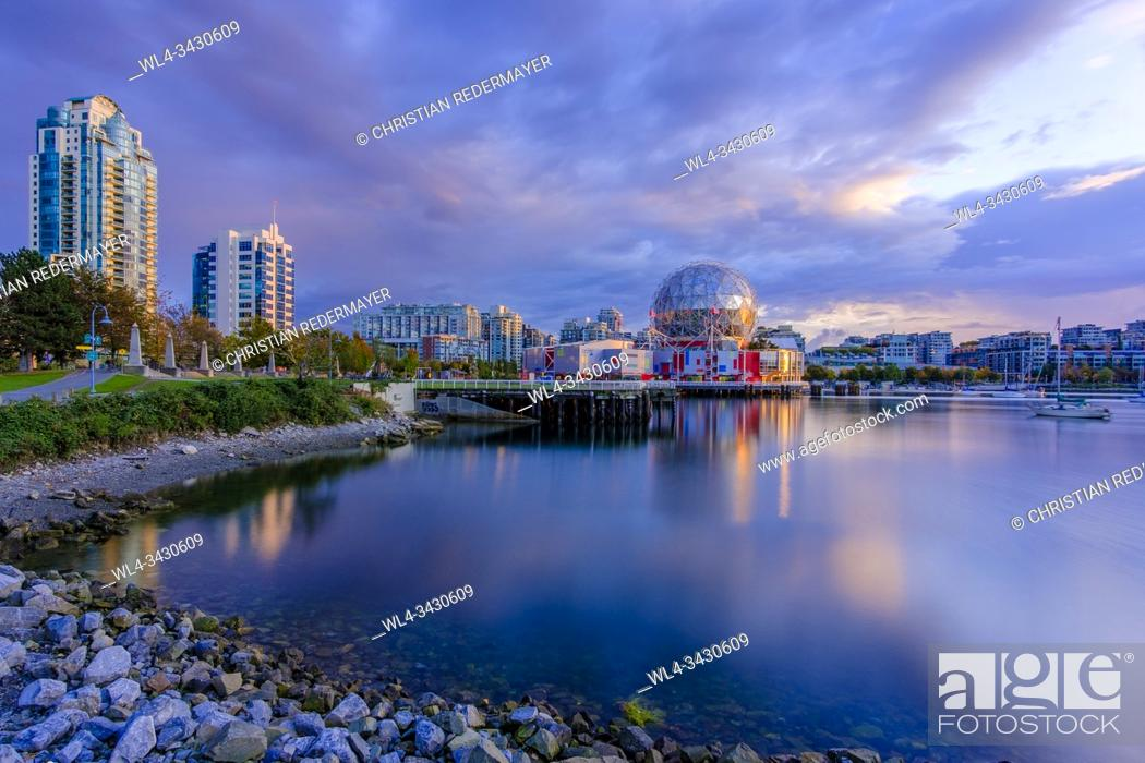 Stock Photo: False Creek and Science World during a wondeful sunset.