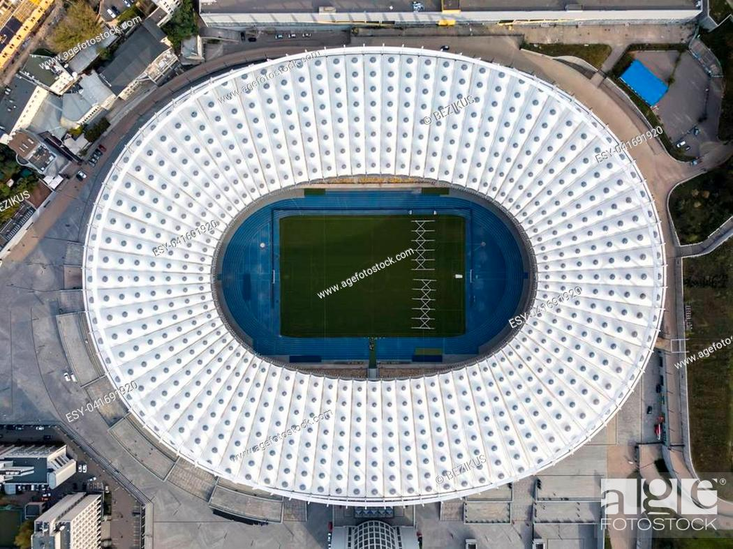 Imagen: Olympic National Sports Complex in Kyiv. Top view panoramic photo. Horizontal.